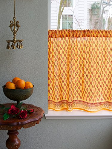 Saffron Marigold – Indian Summer – Orange Paisley Indian Sari Inspired Hand Printed – Sheer Cotton Voile Kitchen Curtain Panel – Rod Pocket – (46