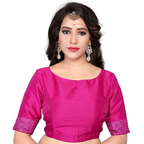 Women's Pink Art Silk Boat Neck design Readymade Blouse Partywear Saree Choli Mirchi Fashion Top