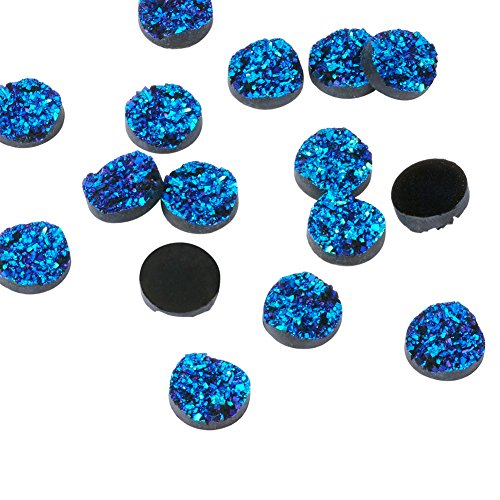 300pcs Half Round Dark Turquoise Druzy Resin Cabochons for Jewelry Making Beads