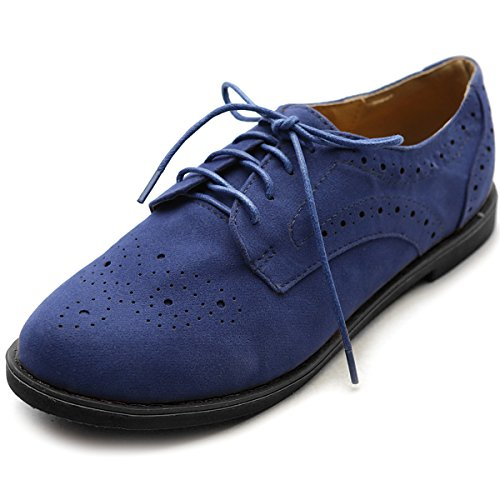 Ollio Womens Lace Up Wing Tip Casual Shoe Dress Low Heel Oxford Navy 83Wawn24PD