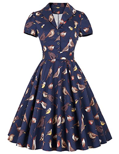 Deep V-Neck Juniors Graduation Party Dress Pinup Dress Dark Blue(L) BP161