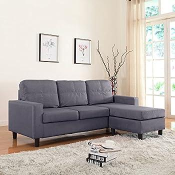 Amazoncom Divano Roma Furniture Modern Microfiber Sectional Sofa - Sofa for a small room