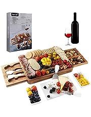 Hecef Acacia houten kaasplankenset, vierkante kaasplank met bestekset, perfecte charcuterieplank voor het serveren van hapjes en fruit