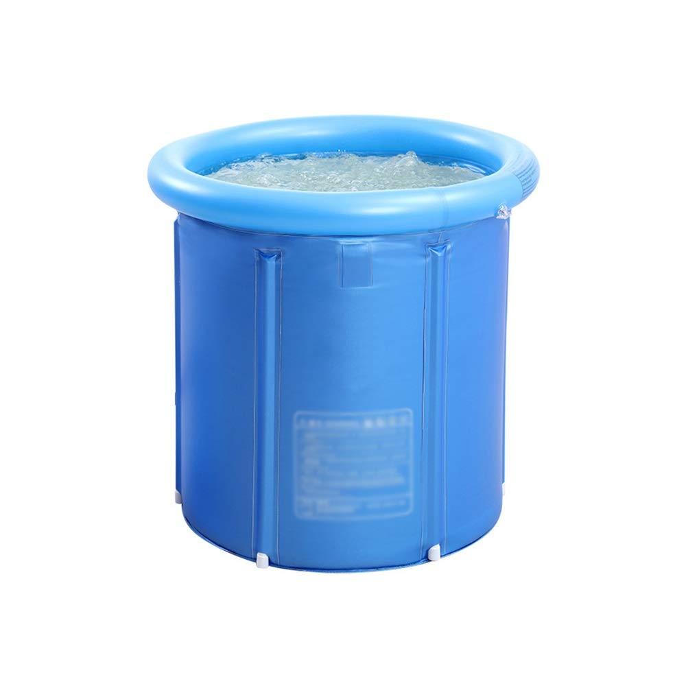 Xiao Mi Guo Ji- Inflatable bathtub, portable plastic adult bathtub, baby pool, thickened freestanding folding bathtub, round tub, blue Portable bathtub (Size : L)