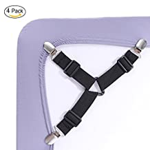 Upgraded Bed Sheet Fasteners, 4 Pack Adjustable Triangle Heavy Duty Sheet Band Straps Suspenders Corner Gripper Holder Clip for Fitted and Flat Bed Sheets, Mattress Pad Covers, Sofa Cushion - Black