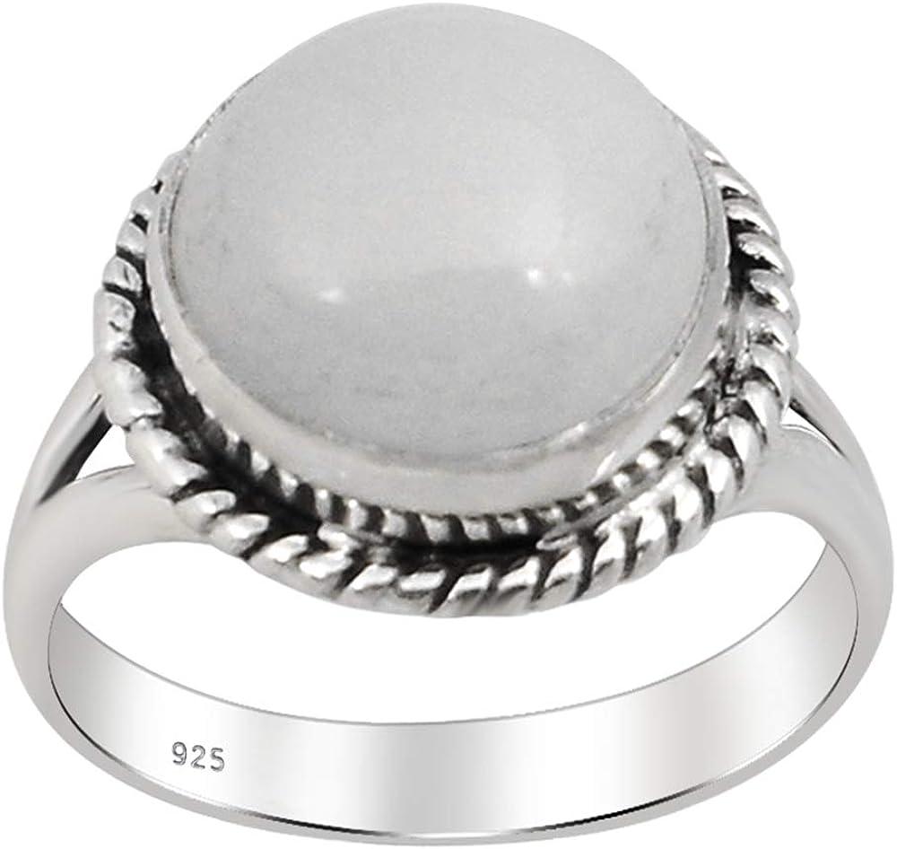 Orchid Jewelry 6.55 Ctw Anillos De Plata De Ley 925 Para Mujer| Blanco Piedra De La Luna Ronda Anillo | Boda Especial, Aniversario, Compromiso, Cumpleaños, Felicitaciones, Regalo Para Ella, Esposa