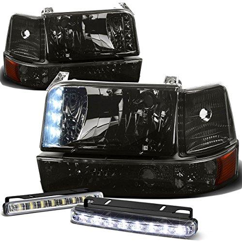 (For Ford F-Series/Bronco Smoke Lens Amber Corner 6pcs Headlight+DRL 8 LED Fog)