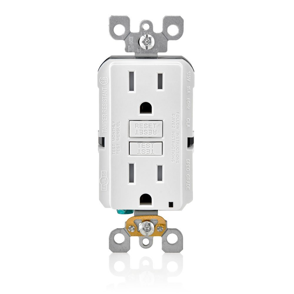 Leviton GFTR1-W Smartest Self-Test Smartlockpro Slim GFCI Tamper-Resistant Receptacle with LED Indicator, 15-Amp, 10 Pack, White by Leviton