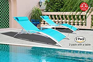 Kozyard KozyLounge Elegant Patio Reclining Adjustable Chaise Lounge Aluminum and Textilene Sunbathing Chair for All Weather with headrest (2 packs), Very light, Very comfortable (Blue W/Table)