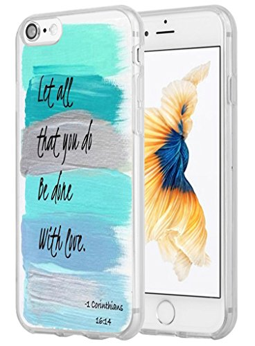 Price comparison product image Iphone 8 Case,Iphone 7 Case Christian Quotes, Hungo Apple Iphone 8 Case Iphone 7 Cover Soft Tpu Silicone Protective Bible Verses Theme Let All That You Do Be Done with Love 1 Corinthians 16:14