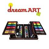 Dream Art Premium Coloring A Set Deluxe Artist Wood Case 30 Crayons 31 Color Pencils 18 Oil Pastels 12 Acrylic Paint 24 Fine Line Markers 20 Palettes Water Bottle 3 Paint Brushes Eraser Sharpener