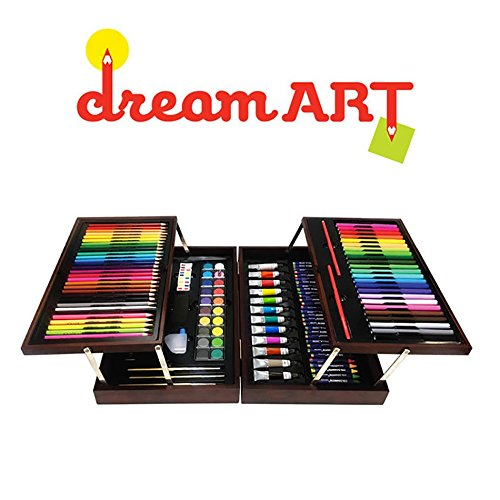 Dream Art Premium Coloring A Set Deluxe Artist Wood Case 30 Crayons 31 Color Pencils 18 Oil Pastels 12 Acrylic Paint 24 Fine Line Markers 20 Palettes Water Bottle 3 Paint Brushes Eraser Sharpener by DREAM ART