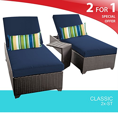 Classic Wicker Side Chair - TK Classics Outdoor Wicker Patio Chaise Furniture with Side Table, Set of 2, Navy