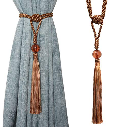 BEL AVENIR Curtain Tiebacks Hand Made Drapery Tassel Rope Holdbacks with Beaded - 1 Pair Brown & Orange (Brown Beaded Curtains)