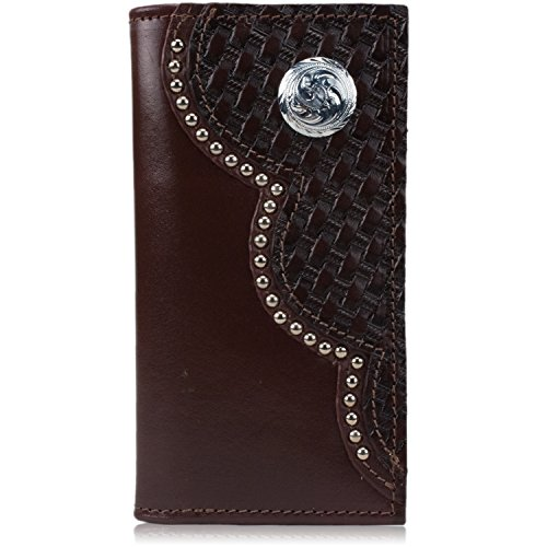 Cherry Rodeo with Wallet amp; Leather Concho Western Floral Basketweave Checkbook Style 1wq5H5xAv