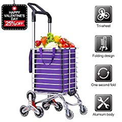 Need Larger Storage Space & More Pocket for Loading Groceries? With Spacious Storage Bag and Big Front Pocket, Back Pocket , Side Pocket and Inside Pocket, ROYI Grocery Cart Provides  Do You Know ROYI Upgraded Quiet Tri-wheels Design? The...