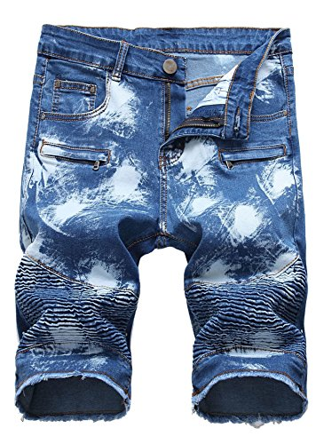 FREDD MARSHALL Men's Fashion Washed Moto Biker Ripped Cropped Zipper Jean Shorts Blue
