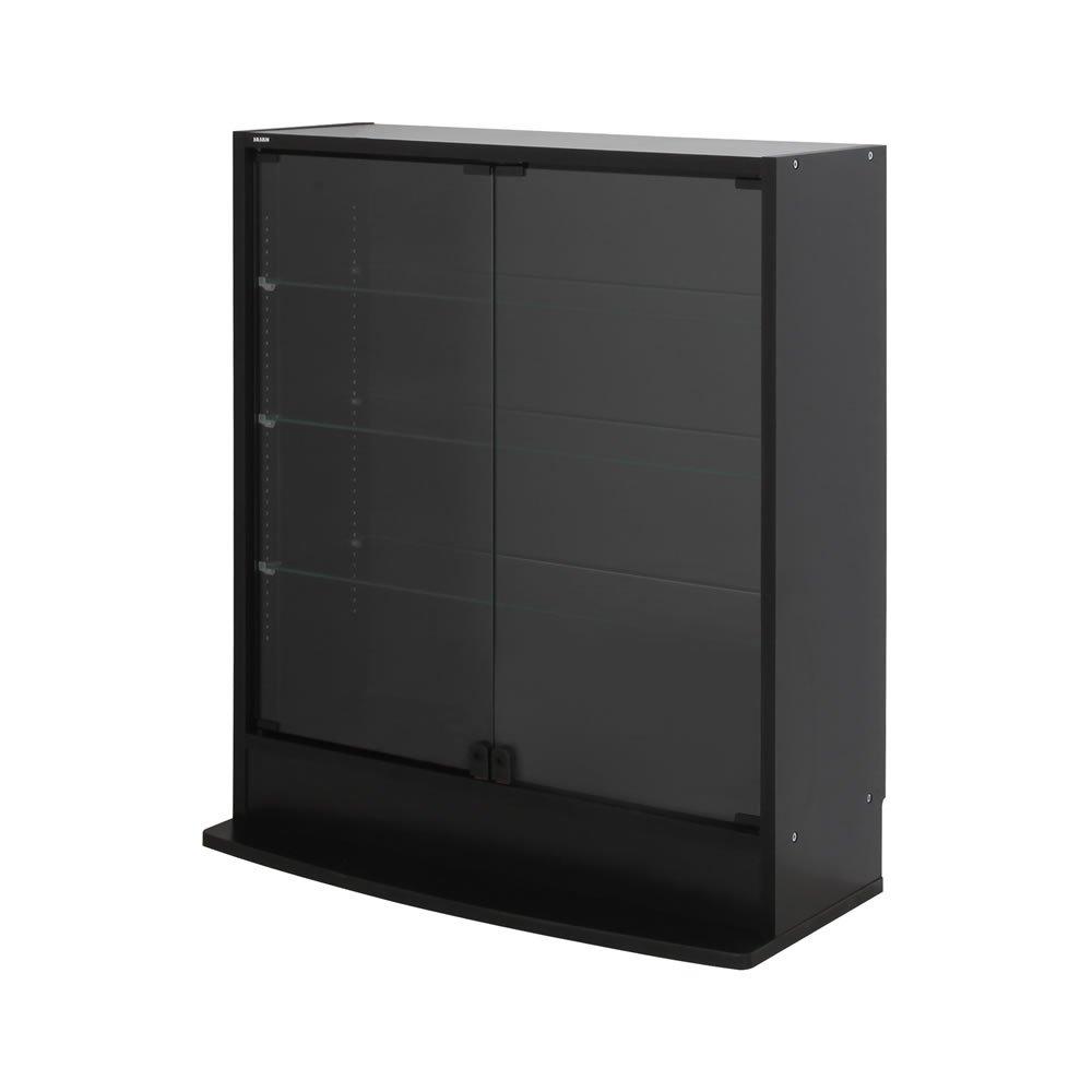 フィギュアラック 鍵付 ワイド83cm幅 ロータイプ 奥行29cm/ブラック B01N68PBES ブラック ブラック
