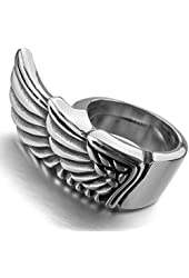 Men's Stainless Steel Ring Silver Tone Angel Wing