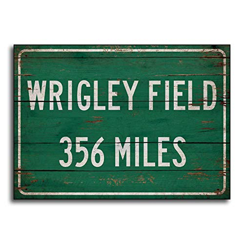 Adonis554Dan Personalized highwayroad Distance Sign to Wrigley Field Home of The Chicago Cubs Print on Wooden Sign Decor Wall Decor