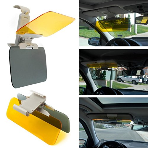 Happy Hours Practical Multi-function 2 in 1 Clip-on Eyesight-protecting Mirror Transparent Car Anti-glare Glass Car Sun Visor Extender High Definition Mirro for Day & Night Driving (Plastic Driving Light Kit)