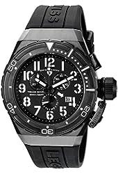 Swiss Legend Men's 'Trimix Diver 2.0' Quartz Stainless Steel and Silicone Automatic Watch, Color:Black (Model: 13842-BB-01)