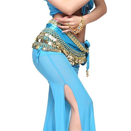 [Belly Dance Belt Rectangular Golden Decor Gold Coins Hip Scarf Skirt Costume orange] (Golden Belly Dancer Costumes)