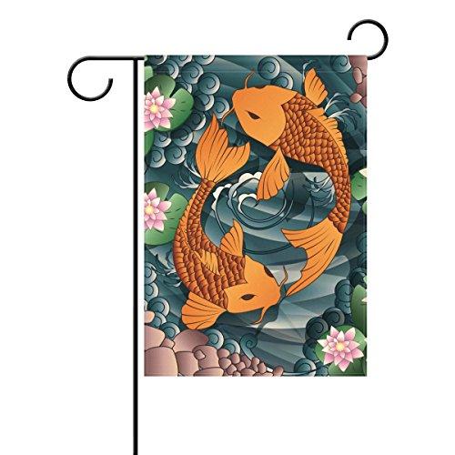Japanese Koi Fish Polyester Home Garden Flags, Mildew Resistant Waterproof Outdoor Flag, 28