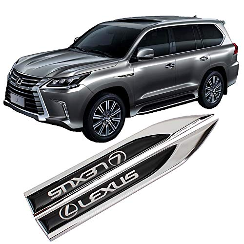 Zhmyyxgs 2 Pcs Chrome Metal Car Decal Sticker 3D Emblem Badge Refitting Accessory Car Side Fender Knife Type Sticker Badge Emblem for Lexus Racing ()
