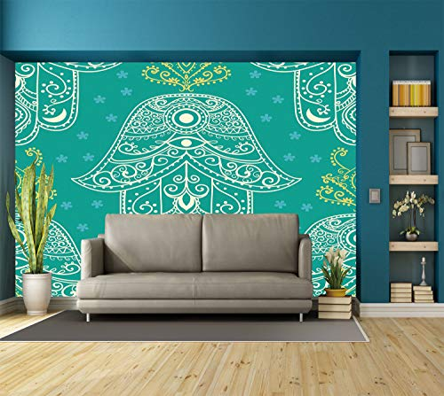 Large Wall Mural Sticker [ Evil Eye,Eastern Charm Religious Hand of Fatima Pattern with Cute Little Daisies,Teal White Yellow ] Self-adhesive Vinyl Wallpaper / Removable Modern Decorating Wall Art -
