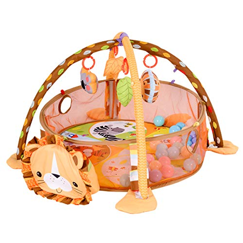 Costzon Baby Play Gym Mat, 3 in 1 Activity Mat with Removable Toys Bars & Walls, 4-Piece Hanging Toys & 30-Piece Ball Pit, Cute Lion Pattern For Sale