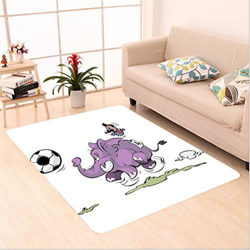 Nalahome Custom carpet r Elephant Is Playing Soccer With A Kid Mario Moustache Sports Decor Football Print Purple White area rugs for Living Dining Room Bedroom Hallway Office Carpet (5' X 7') by Nalahome