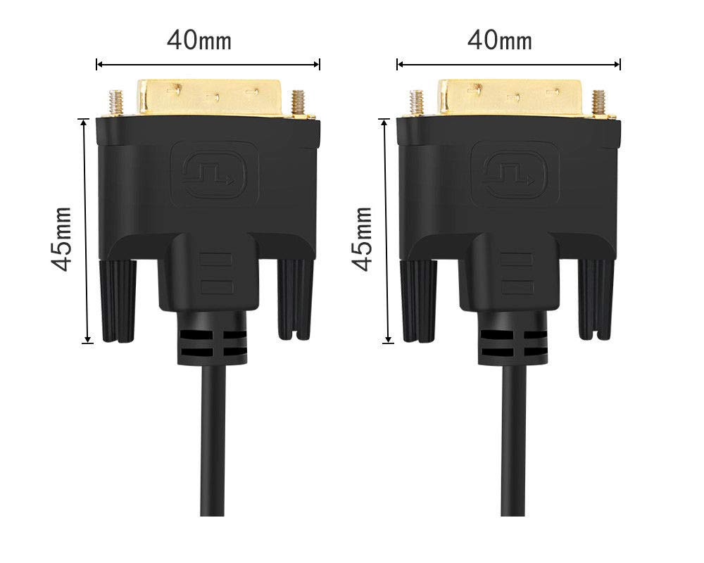 20cm TarLink/® DVI to DVI Cable DVI-D to DVI-D Dual Link 24+1 Pin Black Gold Plated Digital Video Cable