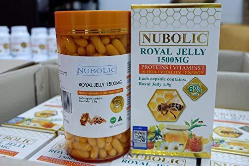 NOBOLIC Royal Jelly 1500MG 6% (protein/vitamins/10-DHA/vitality/energy) /365 Capsules