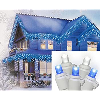Set of 70 Pure White and Blue LED Icicle Christmas Lights - White Wire - Amazon.com: Set Of 70 Pure White And Blue LED Icicle Christmas