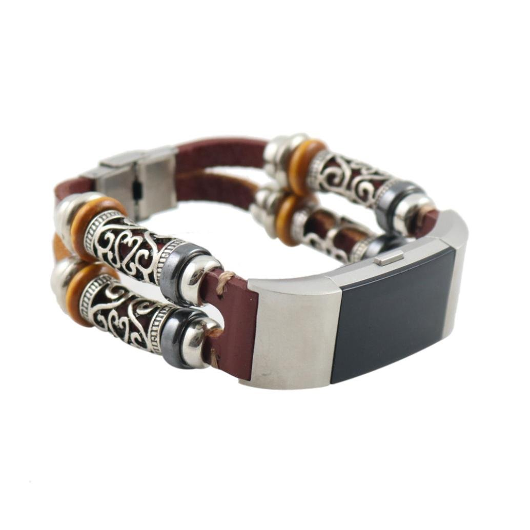 MChoice Replacement Leather Wristband Band Strap Bracelet For Fitbit Charge 2 (Brown)