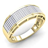 0.40 Carat (Ctw) 10K Yellow Gold Round Diamond Men's Hip Hop Anniversary Wedding Band (Size 10)