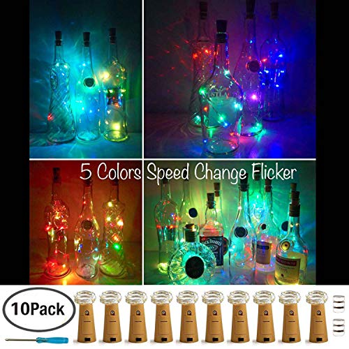 Wine Bottle Lights with Cork,LoveNite 5 Colors Flicker 10 Pack Battery Operated 10 LED Cork Shape Silver Copper Wire Colorful Fairy Mini String Lights for -