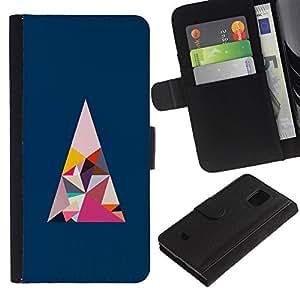 EuroTech - Samsung Galaxy S5 Mini, SM-G800, NOT S5 REGULAR! - Triangle Polygon Art Blue Pink Minimalist - Cuero PU Delgado caso Billetera cubierta Shell Armor Funda Case Cover Wallet Credit Card