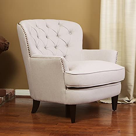Cool Christopher Knight Home Alfred Royal Vintage Tufted Fabric Club Contemporary Lounge Accent Chair Natural Ivory Machost Co Dining Chair Design Ideas Machostcouk