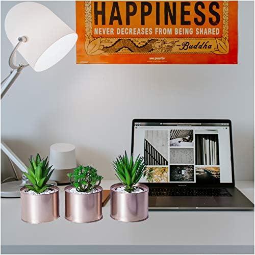 Artificial Succulent Plants for Women Desk – Fake Succulent Plant Set – Office Decor Faux Succulents in Rose Gold Pots – Mini Succulent Decor for Bedroom Bathroom Bookshelf Dorm Accessories 3-Pack 51fp0wKs 2BoL