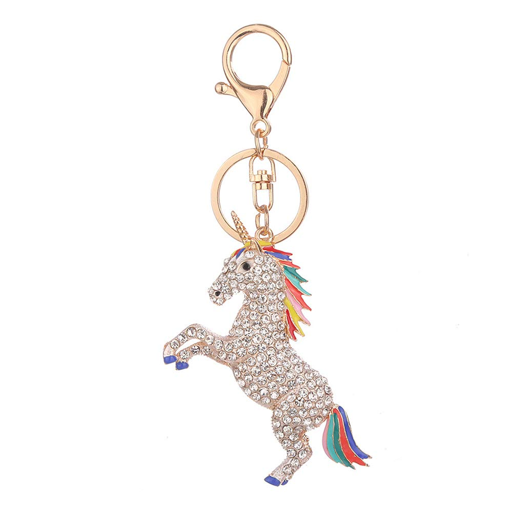 Yonger Keychain Crystal Unicorn Ornament Key Ring White Alloy Key Ring