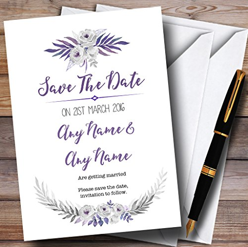 Purple & Silver Subtle Floral Personalized Wedding Save The Date Cards