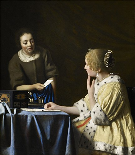 The High Quality Polyster Canvas Of Oil Painting 'Johannes Vermeer - Mistress And Maid, 1666-67' ,size: 24x28 Inch / 61x70 Cm ,this Imitations Art DecorativeCanvas Prints Is Fit For Study Decor And Home Gallery Art And Gifts ()