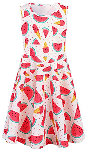 Leapparel Watermelon Costume Causal Dress for Skater Colorful Floral Print Sleeveless Skirt for Girls 8-9T]()
