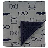 Hudson Baby Printed Mink Blanket with Dotted Backing, Gentleman, One Size
