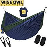 Wise Owl Outfitters Hammock for Camping Single & Double Hammocks Gear For The Outdoors Backpacking Survival or Travel - Portable Lightweight Parachute Nylon SO Navy & Forrest