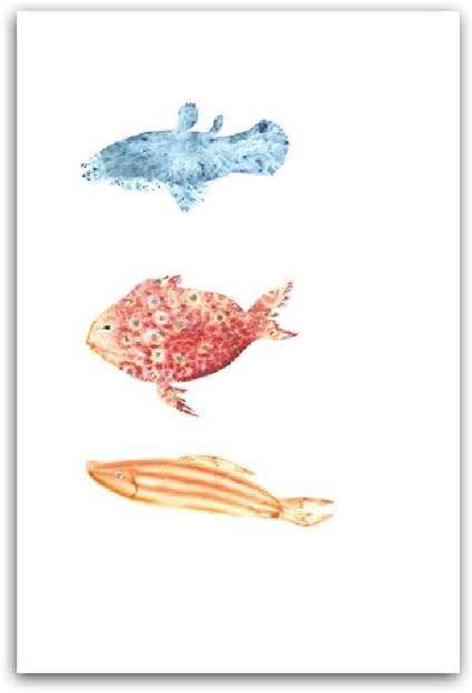 Aquarelle Dessin Anime Fish Tank Affiches Et Gravures Mur Art Toile Peinture Enfant Chambre Mur Photos Pour Salon Decor 80x100cm Amazon Fr Bricolage