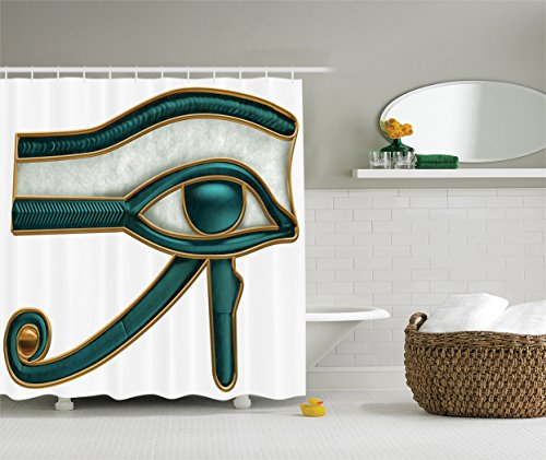Ambesonne Egyptian Decor Collection, Eye of Horus Wadjet Ancient Egyptian Symbol of Protection Image, Polyester Fabric Bathroom Shower Curtain, Dark Teal Grey Gold (Eyes Shower Curtain)
