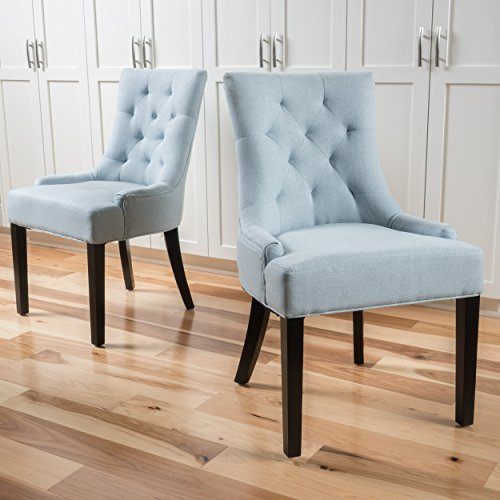 Christopher Knight Home 299539 Hayden Fabric Dining Chairs (Set of 2), Light Sky ()